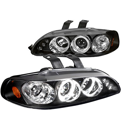 Spec-D Tuning 2LHP-CV923JM-TM Honda Civic 3Dr Dual Halo Led Black Projector Head Lights (Honda Headlights Civic Halo)