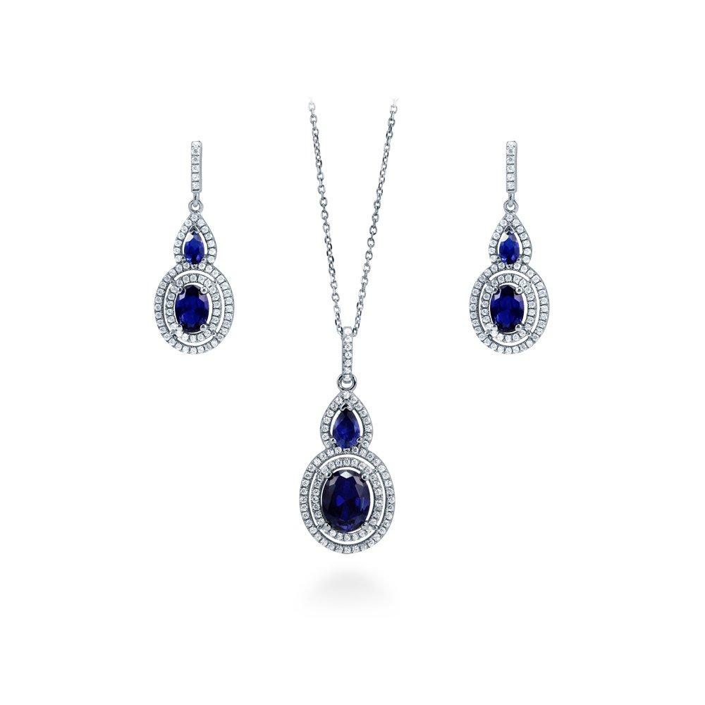 Sterling Silver W// Rhodium-plated Diamond /& Black Sapphire Earring Jacket 0.5IN Diameter