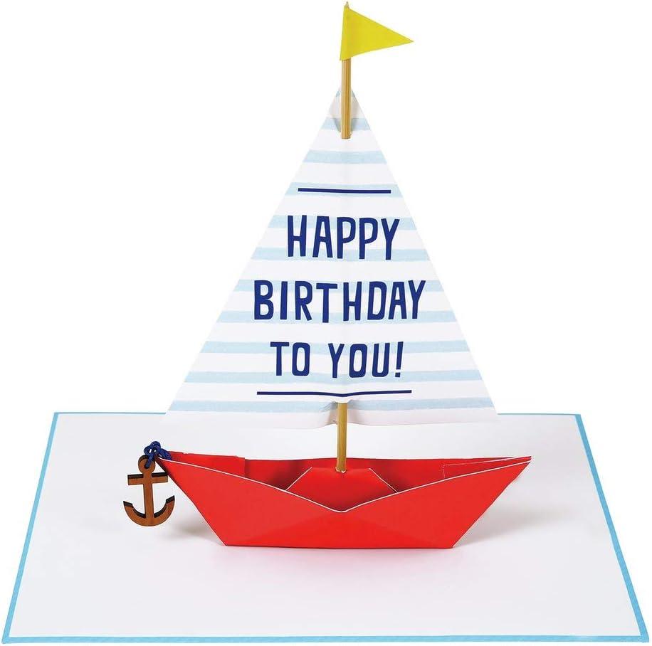 Meri Meri, Happy Birthday Greeting Card - Sailing Boat with Wooden Anchor