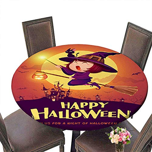 Waterproof SpillProof Round Tablecloth,Happy Halloween Halloween Flying Little Witch Girl Kid in Halloween Costume ho for Picnic Outdoor or Indoor Party use up to 59.5