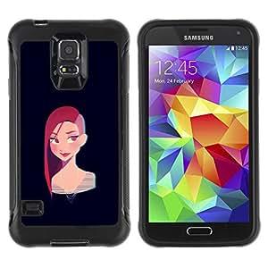 Be-Star único patrón Impacto Shock - Absorción y Anti-Arañazos Funda Carcasa Case Bumper Para SAMSUNG Galaxy S5 V / i9600 / SM-G900F / SM-G900M / SM-G900A / SM-G900T / SM-G900W8 ( Redhead Punk Girl Black Cartoon )