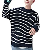 Yayu Men's Fashion Hip Hop Hole Long Sleeve Pullover Sweater Dark Blue M