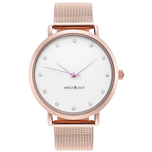 Metal Mesh Strap - WRISTOLOGY Olivia Womens Crystal Rose Gold Boyfriend Watch Metal Mesh Strap