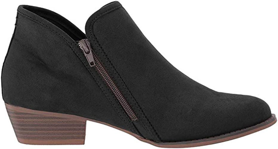 Womens Grey Low Cut Western Ankle Boots