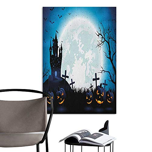 Alexandear Poster Sticker Halloween Spooky Concept with Scary Icons Old Celtic Harvest Figures in Dark Image Holiday Print Blue School Dormitory Classroom W20 x -