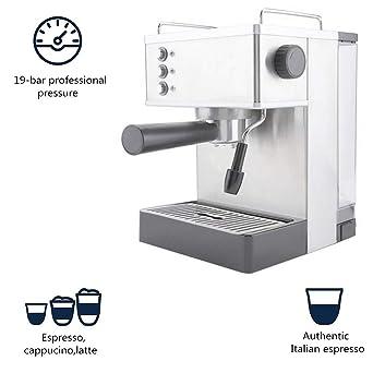 Máquina de espresso, máquina de café de acero inoxidable, cafetera ...