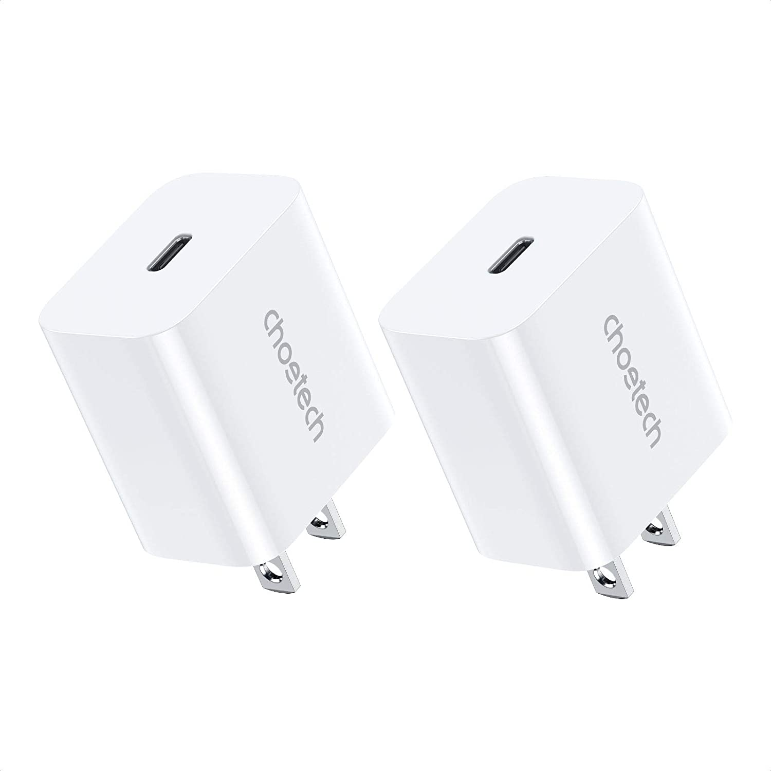 USB C Charger, CHOETECH 2-Pack PD Fast Charger 20W Type C Power Delivery 3.0 Wall Charger Compatible for iPhone 12/12 Pro Max/12 Pro/12 Mini/11 Pro Max/SE/XS/XR/8, iPad Pro, Galaxy S20/S10, Pixel 5/4