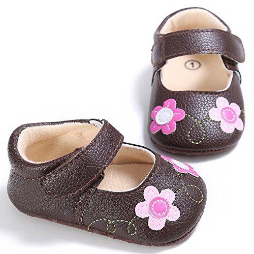 BOBORA Ninos Ninas Princesa Zapatos Prewalker Flores Zapatos De Bebe marron