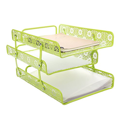 Green Metal Hollow 3-Tier Paper File Sorter Magazine Holder by Single Night