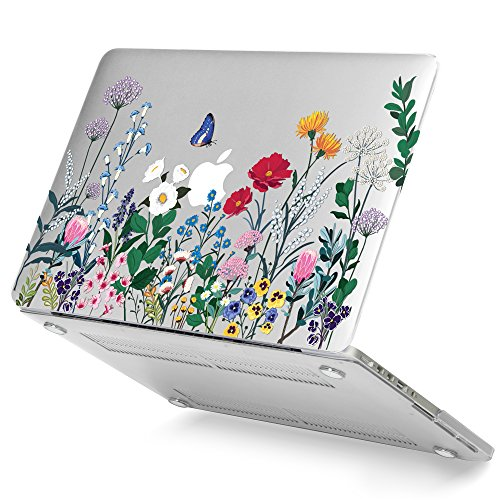 GMYLE Clear Transparent Crystal Glossy Plastic Hard Case Cover for Old MacBook Pro 13 Inch with Retina Display No CD-Rom (A1502/A1425, Version 2015/2014/2013/end 2012), Springtime Floral Garden by GMYLE