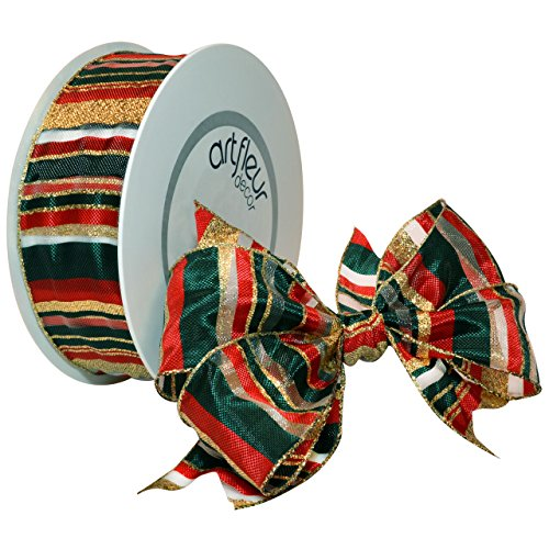 Morex Ribbon 150540-760/25 Premiere French Wired Taffeta Ribbon, 1-1/2-Inch by 27-Yard Spool, Gold, Red and Hunter Green