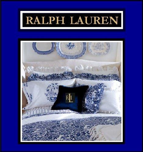 RALPH LAUREN PORCELAIN BLUE ((COMPLETE 4 PIECE SET)) TAMARIND KING SIZE COMFORTER, SHAMS & ()