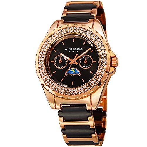 Akribos XXIV Women's Quartz Stainless Steel and Ceramic Casual Watch, Color Two Tone (Model: AK961RGB)