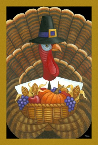 Toland Home Garden Tom Turkey 28 x 40 Inch Decorative Fall Autumn Harvest Thanksgiving Pilgrim Bird House Flag - Stephanie Top In Black