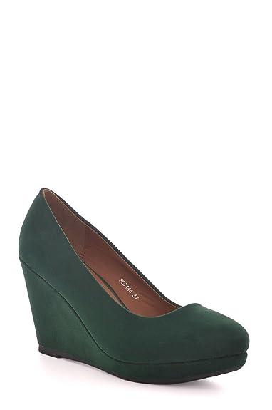 32b8dff80167 Juliet s Kiss Womens Faux Suede Green Wedge Shoe Ladies (UK 3 - EU 36 -