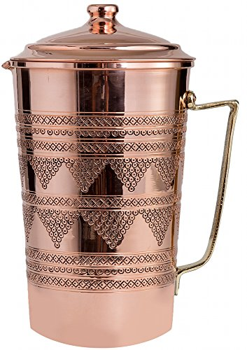 New CopperBull 2017 Heavy Gauge 1mm Solid Hammered Copper Water Moscow Mule Serving Pitcher Jug with Lid, 2.2-Quart (Engraved Copper 2)
