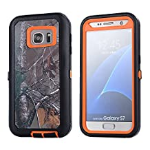MOONCASE Galaxy S7 Case, [Realtree Camo Series] 3 Layers Heavy Duty Defender Hybrid Soft TPU +PC Bumper Triple Shockproof Drop Resistance Protective Case Cover for Samsung Galaxy S7 -Orange Withered