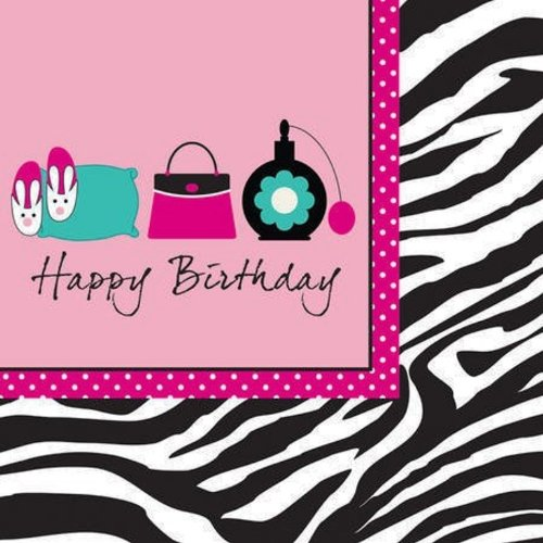 Creative Converting Pink Zebra Boutique Happy Birthday Lunch Napkins, 16 Count]()