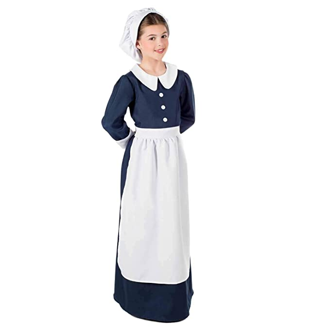 Victorian Kids Costumes & Shoes- Girls, Boys, Baby, Toddler fun shack Kids Florence Nightingale Costume Childrens Historical Nurse Dress Outfit $29.99 AT vintagedancer.com