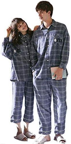 ジュタオピン ペア パジャマ カップル メンズ 上下 セット レディース 部屋着 綿 ペアルック ルームウェア おしゃれ 長袖 おそろい コーデ 春 かわいい コットン 紳士 寝巻き ブルー チェック柄