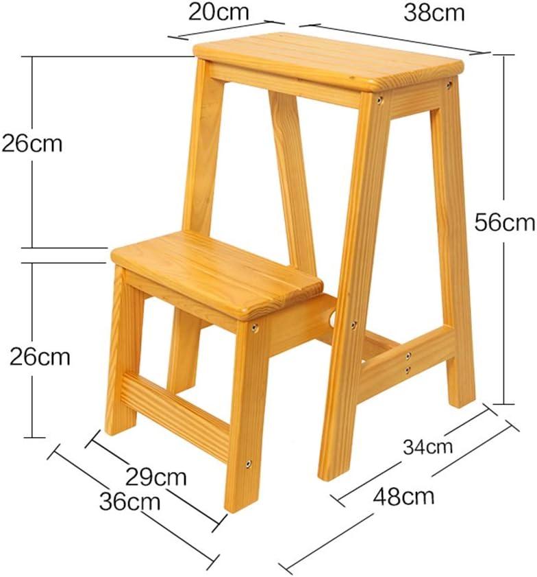 /Échelle en Bois /à 2 marches rabattables Chaise descalier Domestique Tabouret /élargi Tabouret pour Enfants//Adultes Hauteur 56cm /Échelles Descalier Pliantes Marchepied Robuste