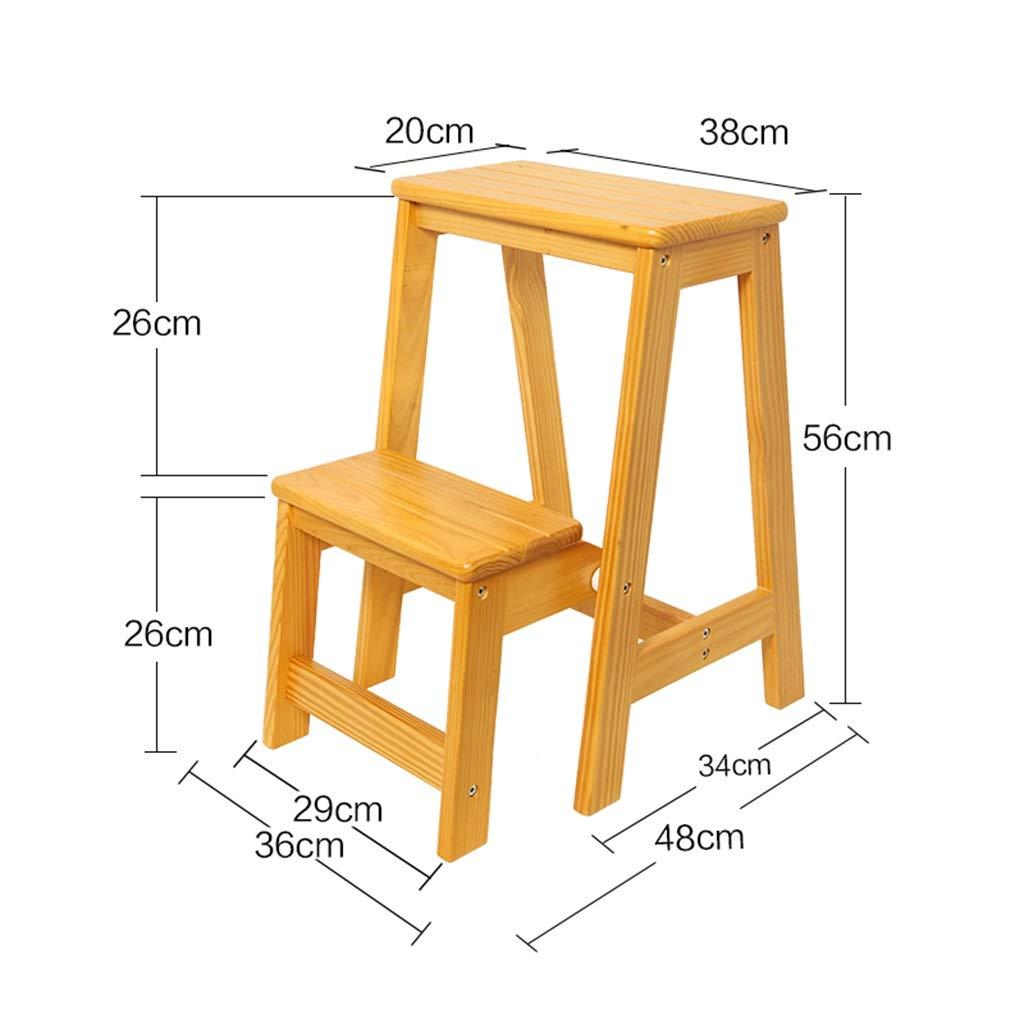 Hauteur 56cm /Échelle en Bois /à 2 marches rabattables Chaise descalier Domestique Tabouret /élargi Tabouret pour Enfants//Adultes /Échelles Descalier Pliantes Marchepied Robuste