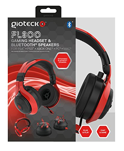 Gioteck FL-300 Wired Stereo Headset with Removable Bluetooth Speakers - PlayStation 4 - Red by Gioteck