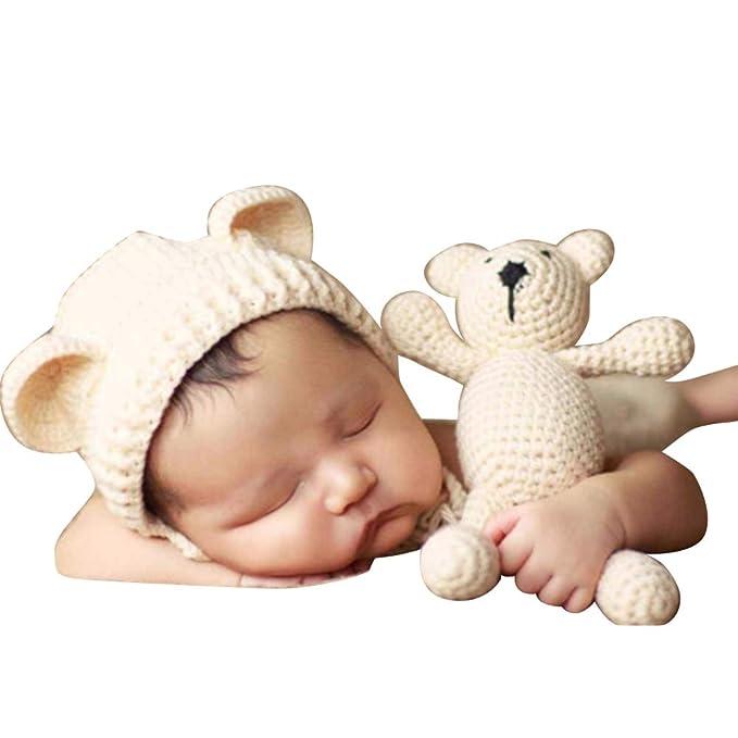 Quge Conjunto Bebé Recién Nacido Fotografía Prop Foto Crochet Oso ...