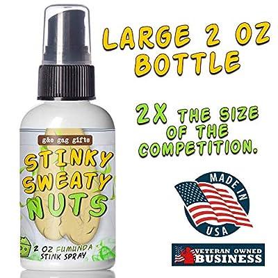 G&E Gag Gifts Stinky Sweaty Nuts Prank Spray- Big 2 oz. Bottle - Smells Like Fumunda Cheese - Funny Prank Fart Spray: Toys & Games