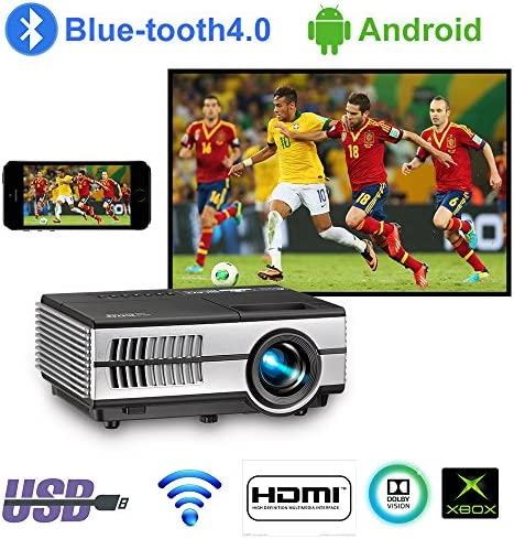 Mini Wifi Projector with Bluetooth 2800lumen LCD LED Android Projectors Portable HDMI USB VGA Audio for Home Theater Cinema Outdoor Movie Game Console,Airplay Miracast Wireless Cast iPad iPhone Tablet