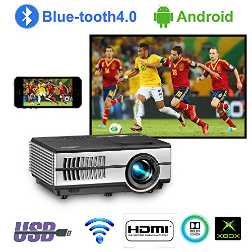 Mini Wifi Projector with Bluetooth 1500lumen LCD LED Android Projectors Portable HDMI USB VGA Audio for Home Theater Cinema Outdoor Movie Game Console,Airplay Miracast Wireless Cast iPad iPhone Tablet -
