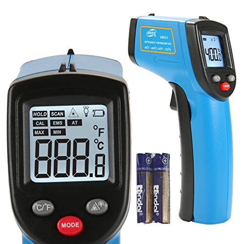 BENETECH Infrared Thermometer Cooking Digital Temperature Gun -58~986℉ with Adjustable Emissivity & Max Min and Ambient Temperature Measure, Self Calibration, Laser Pyrometer Not for Human