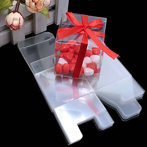 Yalulu 50pcs Clear Plastic Candy Gift Boxes Anti Scratch Wedding Favors Candy Holder Bags Wedding Party Gift Boxes -