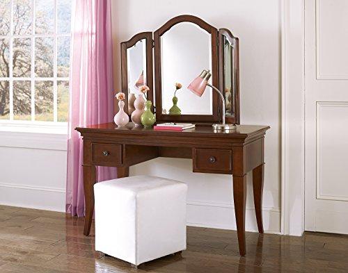 NE Kids Walnut Street Desk with Vanity Storage Mirror, Chestnut by NE Kids