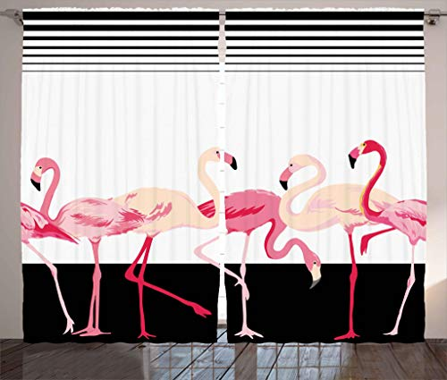 "Ambesonne Retro Curtains, Pink Flamingo Birds on Background with Stripes Love Romance Shabby Form Graphic, Living Room Bedroom Window Drapes 2 Panel Set, 108"" X 90"", Black"