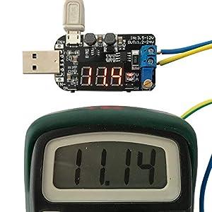 PEMENOL DC-DC Adjustable USB Power Supply Module, 5V to 3.3V 9V 12V 18V 24V LCD Step Up/Down Module Buck Boost Voltage Converter (Tamaño: 3W)