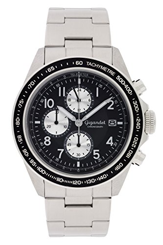 - Gigandet Men's Quartz Watch Racetrack Chronograph Analog Stainless Steel Silver Black G24-001