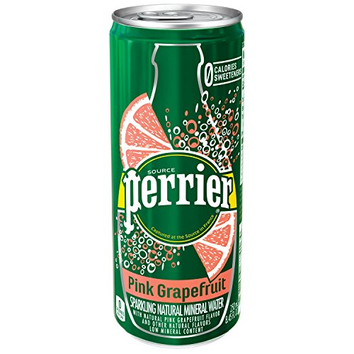 : PERRIER Pink Grapefruit Flavored Sparkling Mineral Water, 8.45 fl oz. Slim Cans (Pack of 30)