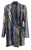 Beulah Style Women's Colorful Sequins Long Sleeve Blazer Jacket, Multi, Large