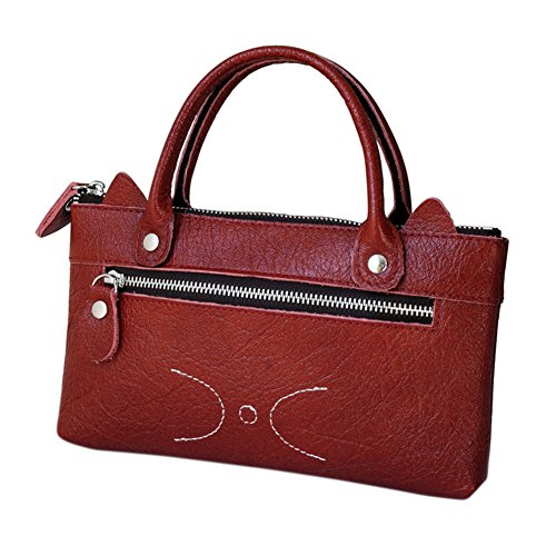 Zantec Cartera de cuero simple de la moda de la mujer Bolso de mano linda de la cartera del negocio del ocio del gato Rojo