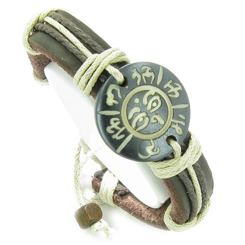 Amulet Leather Bracelet All Seeing Eye of Buddha OM Mantra Lucky Charm