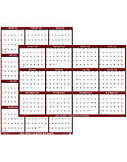 """18"""" x 24"""" SwiftGlimpse 2022 Wall Calendar Erasable Large Wet & Dry Erase Laminated 12 Month Annual Yearly Wall Planner, Reversible, Horizontal/Vertical, Maroon"""