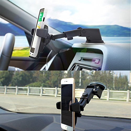 Phone Holder for Car, ZhmThs Dashboard/Windshield Car Phone Mount Holder Esay one Touch For iPhone X 8 Plus 7 6s SE Galaxy S9 S8 Edge S7 S6 Note 8 etc
