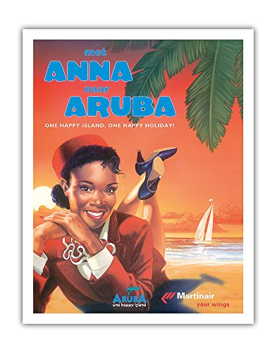 With Anna to Aruba - Martinair Airline - One Happy Island, One Happy Holiday! - Vintage Airline Travel Poster c.1990 - Fine Art Print - 11in x 14in ()