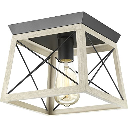 Progress Lighting P350022-143 Briarwood One-Light Flush Mount, Graphite by Progress Lighting