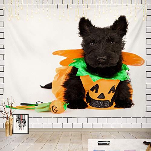 Aberdeen Halloween Contacts - Batmerry Halloween Tapestry, Scottish Terrier Dog