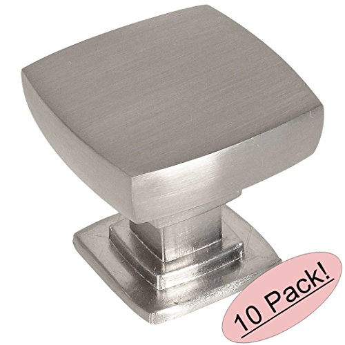 Contemporary Nickel Knobs (Cosmas 5232SN Satin Nickel Contemporary Square Cabinet Knob - 10 Pack)