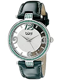 Burgi Women's BUR150GN Round Silver and See Thru Dial Three Hand Quartz Strap Watch