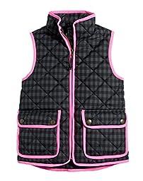J. Crew Crewcuts Black/Gray Girl\'s Printed Puffer Vest (2)