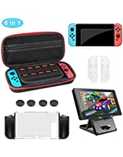 Molyhood 6 in 1 Accessories Kit for Nintendo Switch with Carrying Case, Game tablet case, Screen Protector, Joy-Con Controller Case, Thumb Grip Caps, Adjustable Stand, Portable Strap, play stand